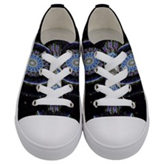 Colorful Hypnotic Circular Rings Space Kids  Low Top Canvas Sneakers