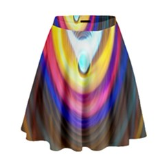 Colorful Glow Hole Space Rainbow High Waist Skirt by Mariart