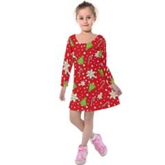 Ginger Cookies Christmas Pattern Kids  Long Sleeve Velvet Dress by Valentinaart