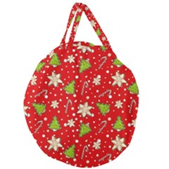 Ginger Cookies Christmas Pattern Giant Round Zipper Tote by Valentinaart