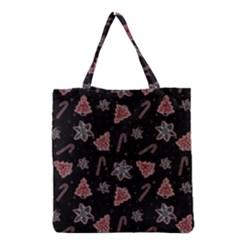 Ginger Cookies Christmas Pattern Grocery Tote Bag by Valentinaart