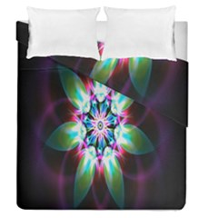 Colorful Fractal Flower Star Green Purple Duvet Cover Double Side (queen Size) by Mariart