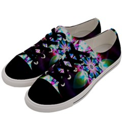 Colorful Fractal Flower Star Green Purple Men s Low Top Canvas Sneakers by Mariart