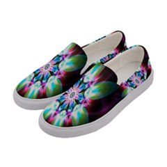 Colorful Fractal Flower Star Green Purple Women s Canvas Slip Ons by Mariart