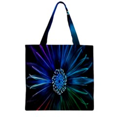 Flower Stigma Colorful Rainbow Animation Space Zipper Grocery Tote Bag by Mariart