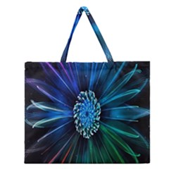 Flower Stigma Colorful Rainbow Animation Space Zipper Large Tote Bag by Mariart
