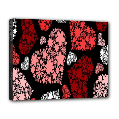 Floral Flower Heart Valentine Canvas 14  X 11  by Mariart