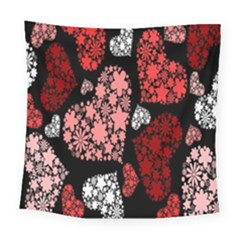 Floral Flower Heart Valentine Square Tapestry (large) by Mariart