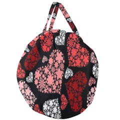 Floral Flower Heart Valentine Giant Round Zipper Tote by Mariart