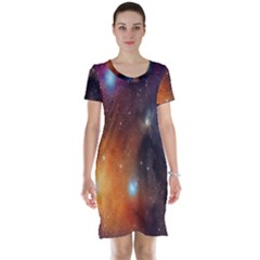 Galaxy Space Star Light Short Sleeve Nightdress by Mariart