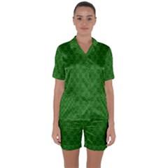 Green Seed Polka Satin Short Sleeve Pyjamas Set