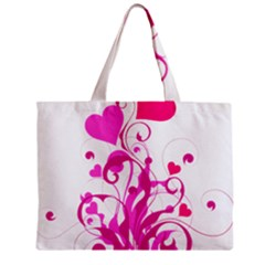 Heart Flourish Pink Valentine Mini Tote Bag by Mariart