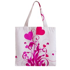 Heart Flourish Pink Valentine Zipper Grocery Tote Bag by Mariart