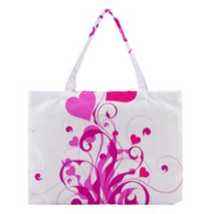 Heart Flourish Pink Valentine Medium Tote Bag by Mariart