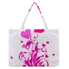 Heart Flourish Pink Valentine Zipper Medium Tote Bag by Mariart