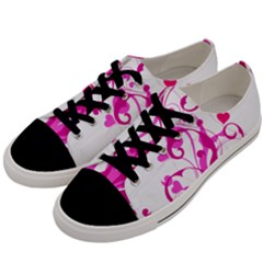 Heart Flourish Pink Valentine Men s Low Top Canvas Sneakers by Mariart
