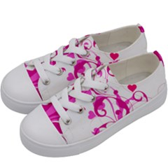 Heart Flourish Pink Valentine Kids  Low Top Canvas Sneakers by Mariart
