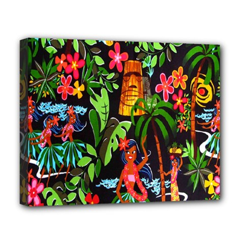 Hawaiian Girls Black Flower Floral Summer Deluxe Canvas 20  X 16   by Mariart