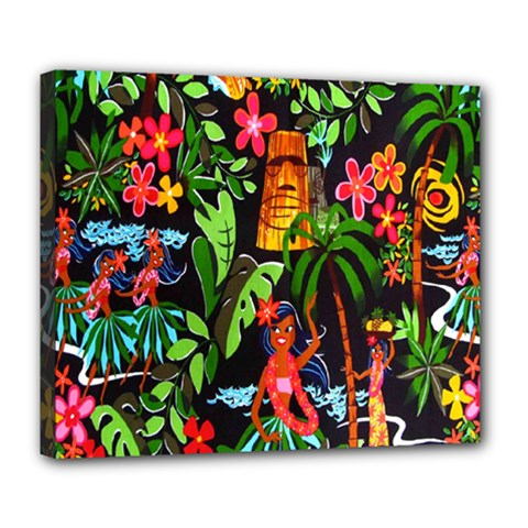 Hawaiian Girls Black Flower Floral Summer Deluxe Canvas 24  X 20   by Mariart