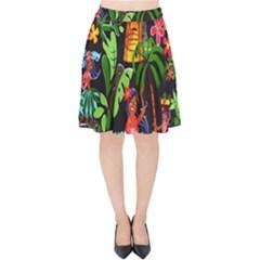 Hawaiian Girls Black Flower Floral Summer Velvet High Waist Skirt by Mariart