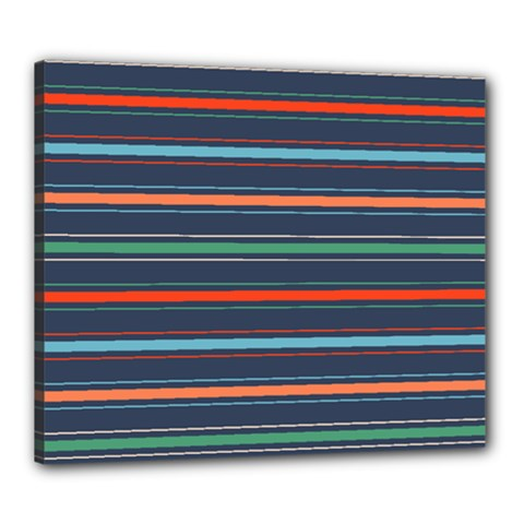 Horizontal Line Blue Green Canvas 24  X 20  by Mariart