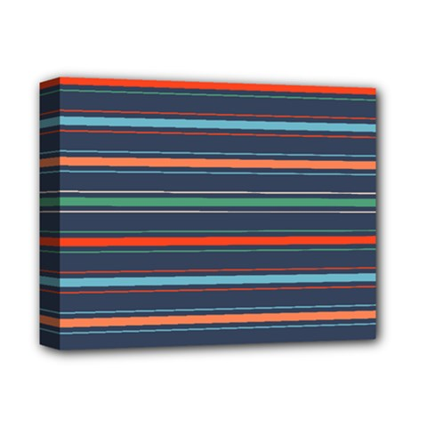 Horizontal Line Blue Green Deluxe Canvas 14  X 11  by Mariart