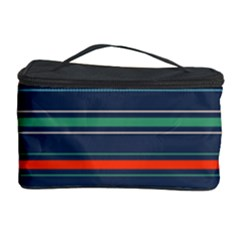 Horizontal Line Blue Green Cosmetic Storage Case by Mariart