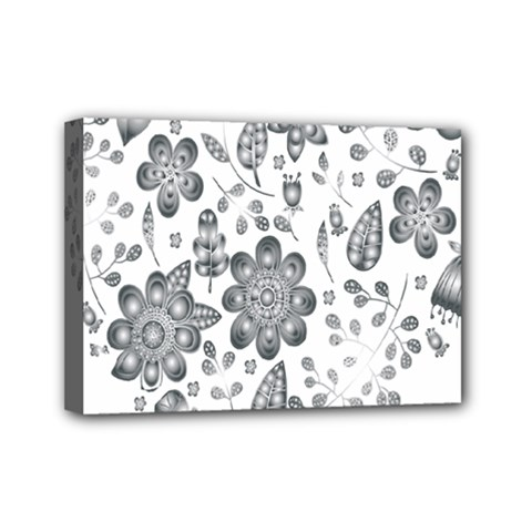 Grayscale Floral Heart Background Mini Canvas 7  X 5  by Mariart