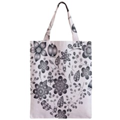 Grayscale Floral Heart Background Zipper Classic Tote Bag by Mariart