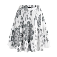Grayscale Floral Heart Background High Waist Skirt by Mariart