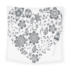 Grayscale Floral Heart Background Square Tapestry (large) by Mariart