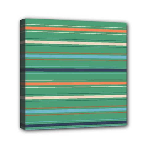 Horizontal Line Green Red Orange Mini Canvas 6  X 6  by Mariart