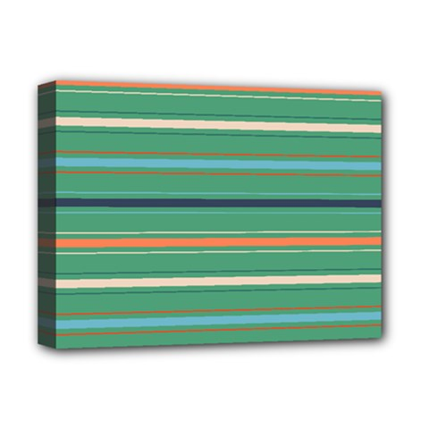 Horizontal Line Green Red Orange Deluxe Canvas 16  X 12   by Mariart