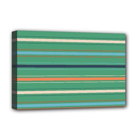 Horizontal Line Green Red Orange Deluxe Canvas 18  X 12   by Mariart