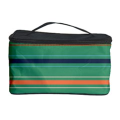 Horizontal Line Green Red Orange Cosmetic Storage Case by Mariart