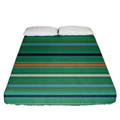 Horizontal Line Green Red Orange Fitted Sheet (queen Size) by Mariart