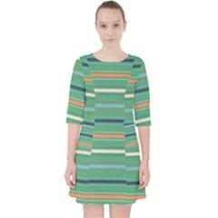 Horizontal Line Green Red Orange Pocket Dress by Mariart