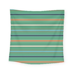 Horizontal Line Green Red Orange Square Tapestry (small) by Mariart