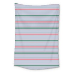Horizontal Line Green Pink Gray Large Tapestry by Mariart