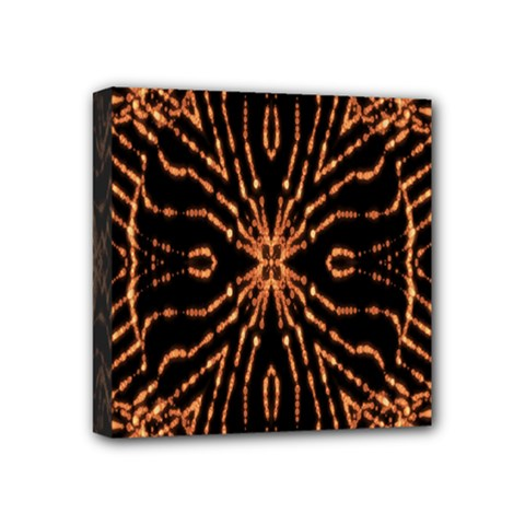 Golden Fire Pattern Polygon Space Mini Canvas 4  X 4  by Mariart