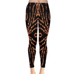 Golden Fire Pattern Polygon Space Leggings  by Mariart