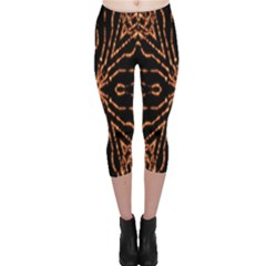 Golden Fire Pattern Polygon Space Capri Leggings  by Mariart