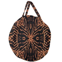 Golden Fire Pattern Polygon Space Giant Round Zipper Tote