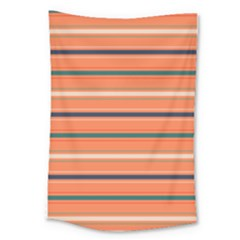 Horizontal Line Orange Large Tapestry