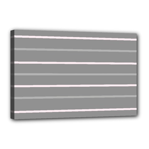Horizontal Line Grey Pink Canvas 18  X 12  by Mariart