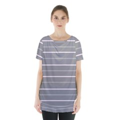 Horizontal Line Grey Pink Skirt Hem Sports Top by Mariart