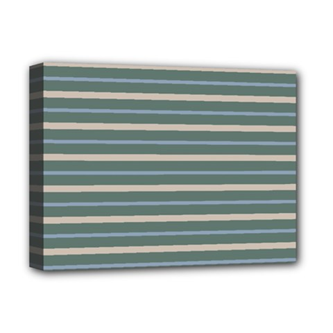 Horizontal Line Grey Blue Deluxe Canvas 16  X 12