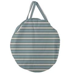 Horizontal Line Grey Blue Giant Round Zipper Tote