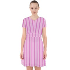 Line Pink Vertical Adorable In Chiffon Dress