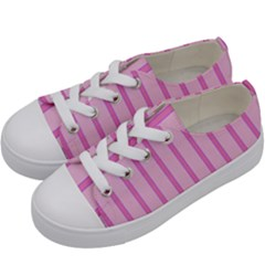 Line Pink Vertical Kids  Low Top Canvas Sneakers by Mariart